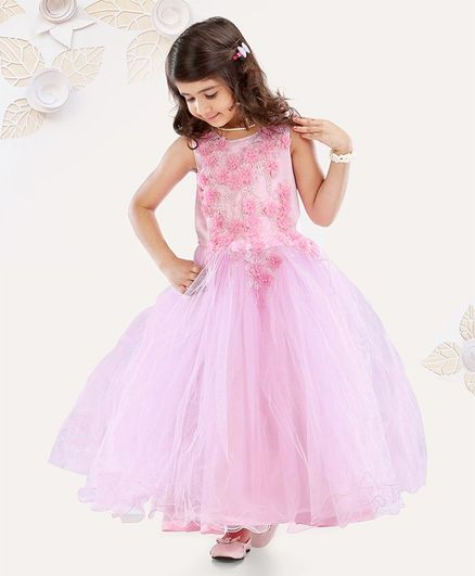 Mark & Mia Sleeveless Party Wear Gown Floral Applique - Pink