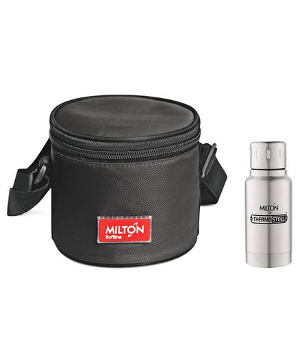 bdf803768d45 Milton Healthy Meal Softline 2 Container Lunch Box Set With 160 ml  Stainless Steel Water Bottle Black Online in India, Buy at Best Price from  ...