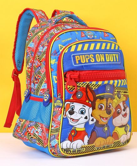 Paw Patrol School Bag Pups On Duty Print Blue Red - 16 Inches