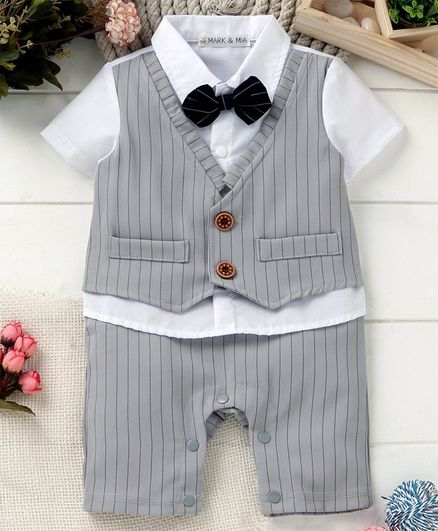 d83bb65b4b326 Buy Mark & Mia Striped Half Sleeves Party Wear Romper Grey for Boys (6-9  Months) Online in India, Shop at FirstCry.com - 2595222