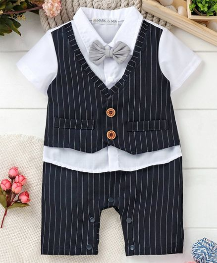 9409c205febb5 Buy Mark & Mia Stripes Party Wear Romper Black for Boys (6-9 Months) Online  in India, Shop at FirstCry.com - 2595225