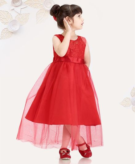77940da7aecd0 Buy Mark & Mia Sleeveless Party Wear Frock Lace Detailing Red for Girls  (3-4 Years) Online in India, Shop at FirstCry.com - 2595363
