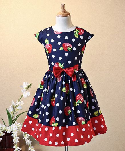 Aarika Cap Sleeves Strawberry Print Dress - Navy Blue