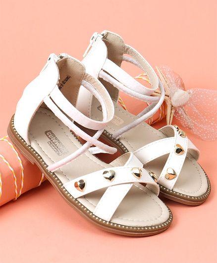 4c94fac984d9 Buy Cute walk by Babyhug Party Wear Sandals Heart Applique Cream ...