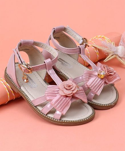 Cute walk by Babyhug Party Wear Sandals Bow Applique - Pink