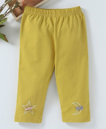 Meng Wa Full Length Lounge Pant Star Embroidered - Yellow