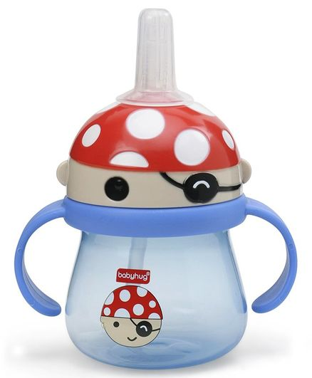 Babyhug Swipey Straw Sipper With Handle Pirate Red Blue - 250 ml