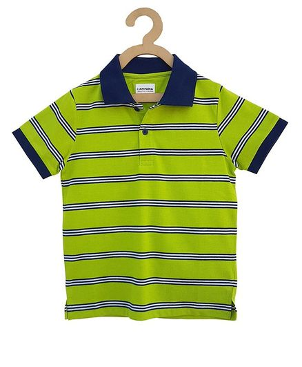 Campana Half Sleeves Striped Tee - Light Green