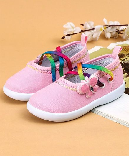 Cute Walk by Babyhug Canvas Shoes Butterfly Appliques - Light Pink