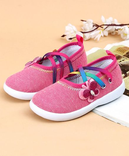 Cute Walk by Babyhug Canvas Shoes Butterfly Appliques - Pink