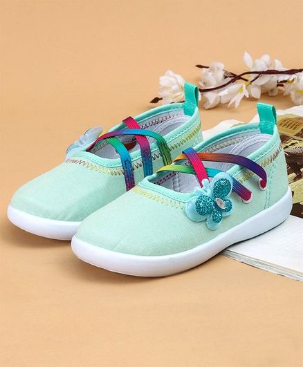 Cute Walk by Babyhug Canvas Shoes Butterfly Appliques - Light Green