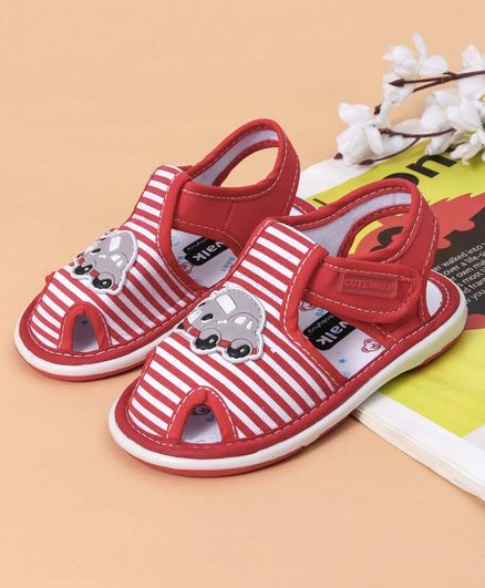 Cute Walk by Babyhug Striped Sandals Car Patch - Red