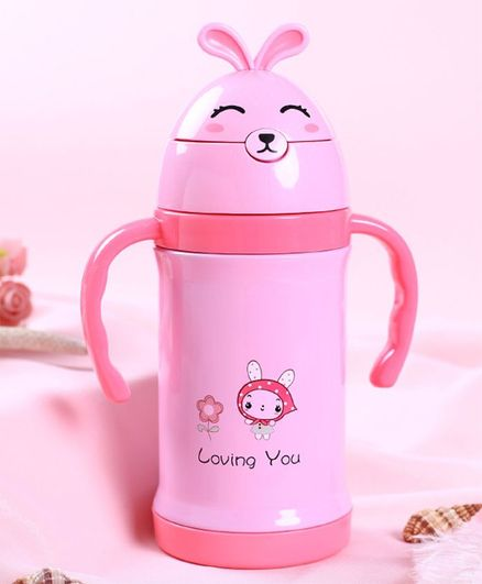 Kidofash Loving You Print Sipper Stainless Steel Water Bottle - Pink