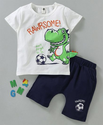 9c25fc03430 Lekeer Kids Half Sleeves Tee   Shorts Set Dino   Soccer Print - White Navy  Blue