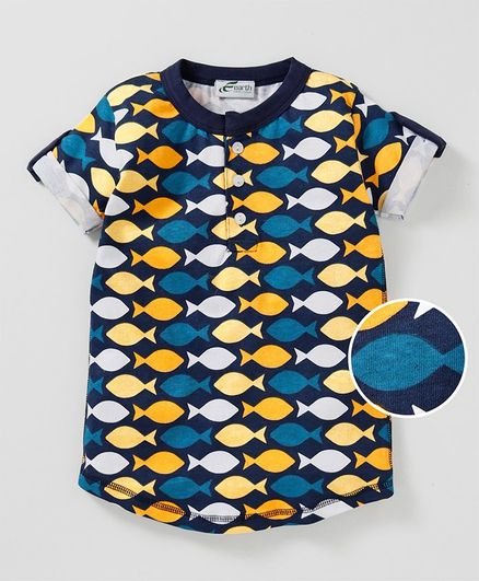 Earth Conscious Half Sleeves Fish Print Tee - Navy Blue