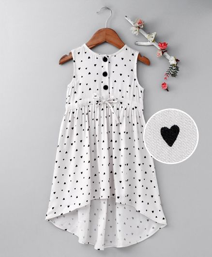 cef83ed59e58c Buy Pspeaches Heart Print Sleeveless Dress White & Black for Girls (12-24  Months) Online in India, Shop at FirstCry.com - 2607440