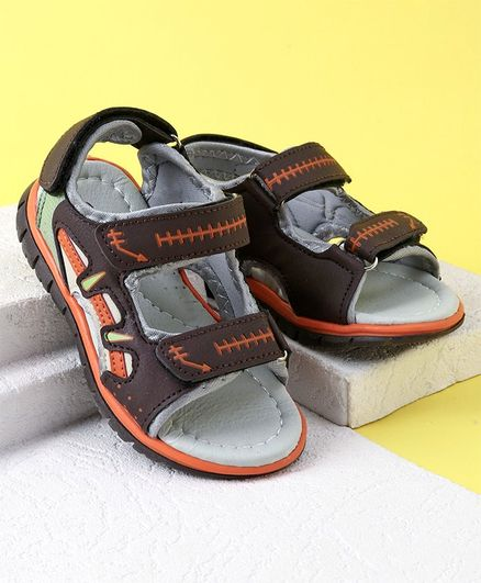 98298648abfa Buy Cute Walk by Babyhug Velcro Closure Sandals Brown for Boys (2 ...