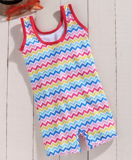 Babyhug Sleeveless Legged Chevron Swim Suit - Multicolour