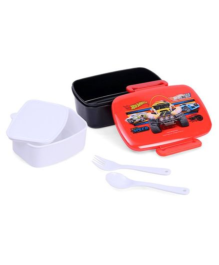 Hot Wheels Lunch Box And Water Bottle With Fork Spoon - Pink Blue