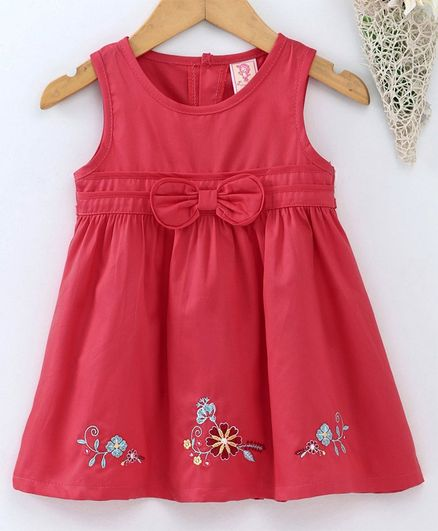 9a8a0ace86d9 Buy Sunny Baby Sleeveless Frock Floral Embroidery Red for Girls (0-3 ...