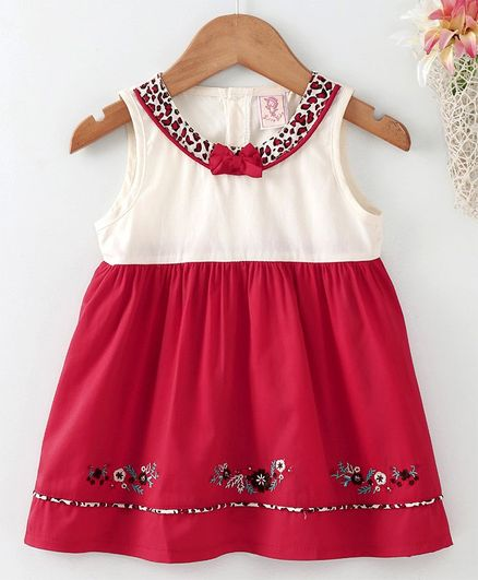 bb8c84c6d02e Buy Sunny Baby Sleeveless Frock Floral Embroidery Red for Girls (3-6 ...