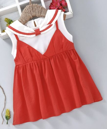 ace13b64e4146 Buy Lekeer Kids Sleeveless Sailor Collar Frock Orange for Girls (9-12  Months) Online in India, Shop at FirstCry.com - 2611319