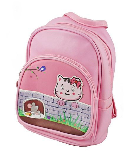 Kidofash Cat & Mouse Patch School Bag - Pink