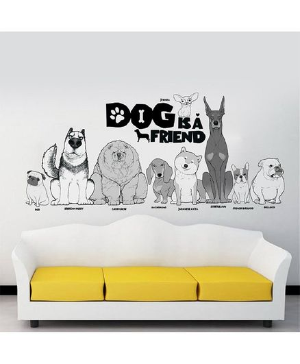 Oren Empower Different Dog Breads Wall Stickers - Grey