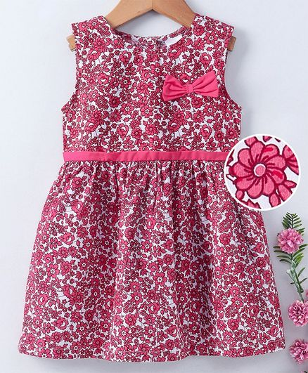 Babyhug Sleeveless Frock Allover Print - Pink