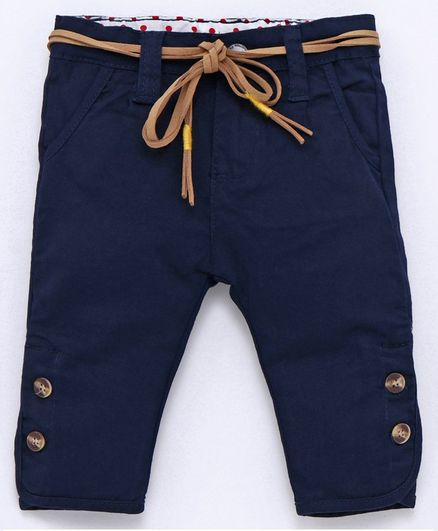 Memory Life Full Length Pants With Belt - Navy Blue
