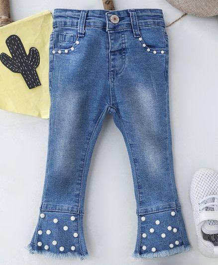 1217b6d6b Buy Memory Life Full Length Jeans Embellished Blue for Girls (4-5 ...