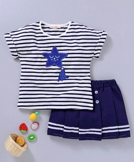 Kookie Kids Striped Half Sleeves Top & Skirt - Blue