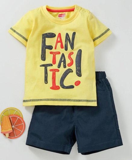Babyhug Half Sleeves Tee & Shorts Set Text Print - Yellow Blue