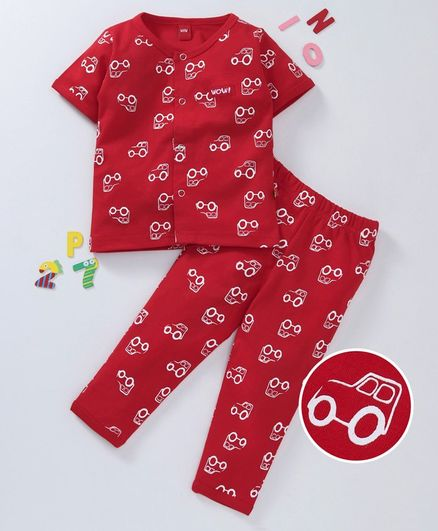 dbadbfe500 Buy Wow Clothes Half Sleeves Night Suit Car Print Red for Boys (6-12 ...