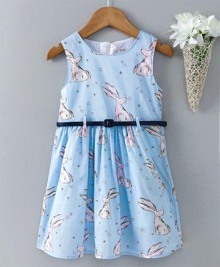 da6f780fe68 Buy Kookie Kids Sleeveless Frock With Waist Belt Sky Blue for Girls (3 ...