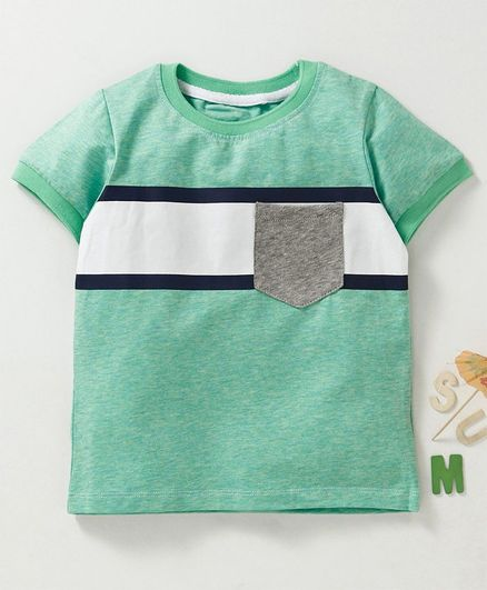 Memory Life Half Sleeves Tee With Chest Pocket - Green