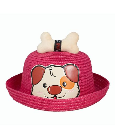 Kidofash Dog Face Patched Hat - Pink