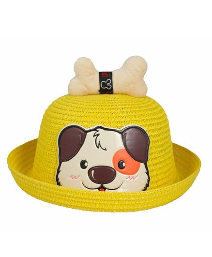 Kidofash Dog Face Patched Hat - Yellow