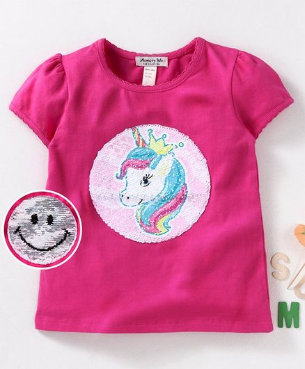 08f48e4ba Buy Memory Life Half Sleeves Top Sequin Unicorn Design Pink for ...