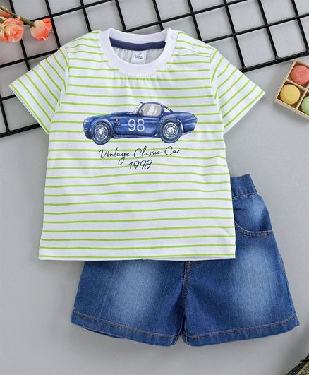 Buy ToffyHouse Stripped Half Sleeves Vintage Car Print TShirt & Denim  Shorts White & Blue for Boys (3-6 Months) Online in India, Shop at  FirstCry com