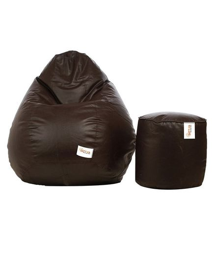 Excellent Sattva Combo Of Classic Bean Bag And Round Footstool With Machost Co Dining Chair Design Ideas Machostcouk