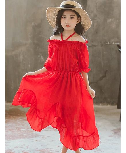 7a790eaf0a Buy Awabox Solid Off Shoulder Half Sleeves Dress Red for Girls (12-24  Months) Online in India, Shop at FirstCry.com - 2623845