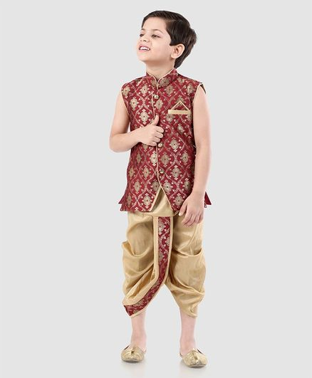 Babyhug Sleeveless Jacquard Kurta & Dhoti Set - Red