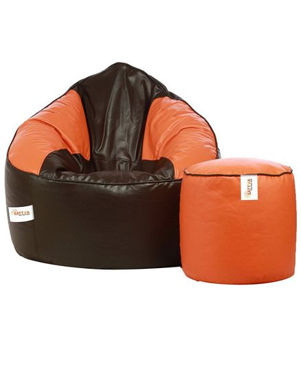 Terrific Sattva Combo Bean Bag Cover Round Footstool Cover Without Beans Orange Brown Theyellowbook Wood Chair Design Ideas Theyellowbookinfo