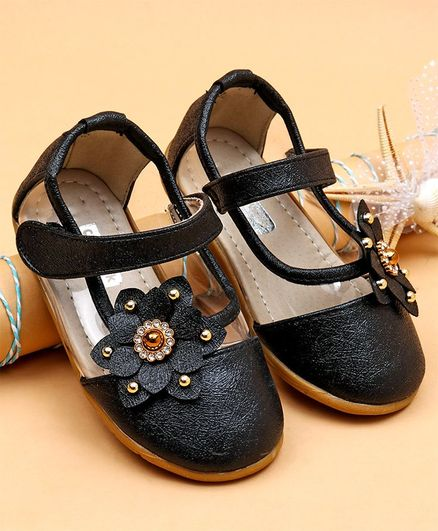 Cute Walk by Babyhug Party Wear Belly Shoes Studded Floral Appliques - Black