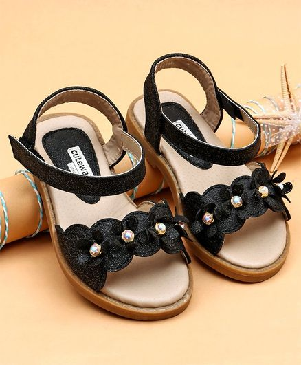5d1e94337c6 Buy Cute Walk by Babyhug Party Sandals Studded Floral Motif Black ...