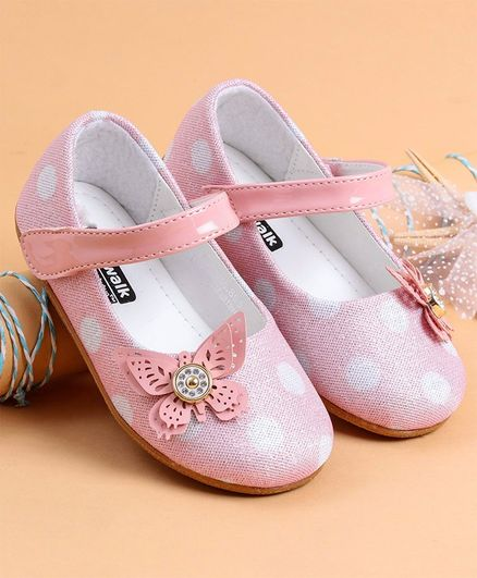 Cute Walk by Babyhug Party Wear Belly Shoes Polka Dot Print - Light Pink