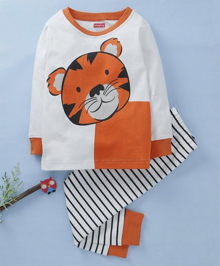 Babyhug Full Sleeves Cotton Night Suit Tiger Print - White