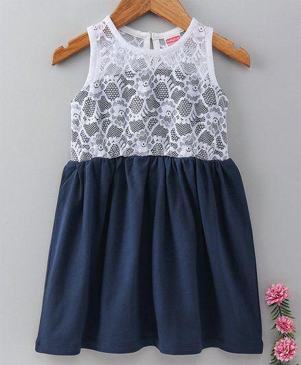 7367af76955 Buy Babyhug Sleeveless Knee Length Lace Frock Navy Blue for Girls ...