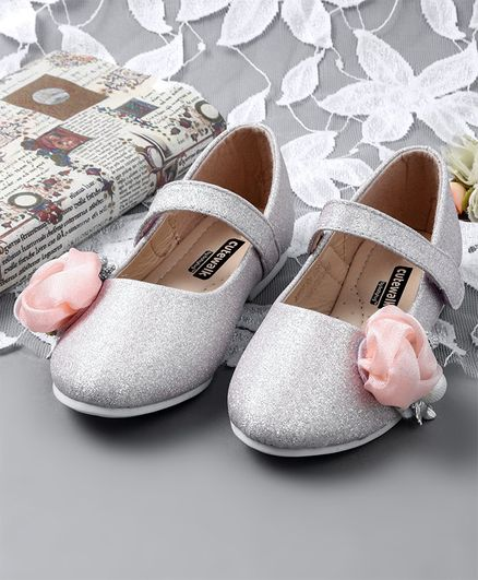 a555413909a Buy Cute Walk by Babyhug Belly Shoes Floral Motif Silver for Girls (5 ...